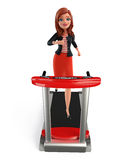 Young Corporate lady with walking machine Stock Photos