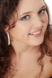 Young corpulent woman in elegant make up. Royalty Free Stock Images