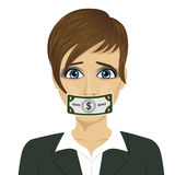 Young corrupt woman with dollar bill taped to mouth. Bribery concept in politics, business, diplomacy. Stock Photo