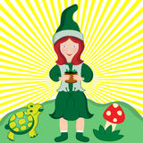Young Country Girl with Pot Plant. Small child cartoon character carrying a pot plant, tortoise and toadstool beside her. Set with a sunburst background vector illustration