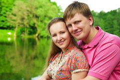 Young couple. Young happy smiling attractive couple together outdoors Stock Photo