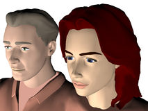 Young couple. 3d illustration of close up of a young couple of people attentively looking into direction of light Stock Images