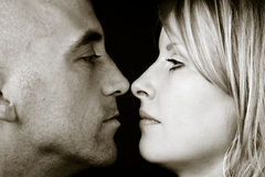 Young couple. Closeup young attractive natural couple .sepia toning Royalty Free Stock Photo