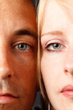 Young couple. Closeup young natural attractive couple with blue eyes Stock Photos