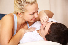 Young couple. In intimate moment Royalty Free Stock Image