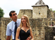 Young couple. Photo  with medieval background Stock Photos