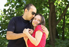 Young couple. Happy together outdoors Royalty Free Stock Images