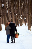 Young couple. On winter picnic Stock Images