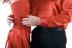Young couple. In red close-up stock photos
