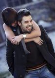 Young couple. Having fun outdoors Stock Photos