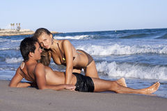 Young couple. Relaxing on the beach Stock Photography