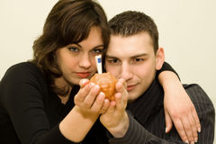 Young couple. The young couple saving money Royalty Free Stock Photo