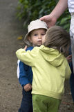Young couple. Baby lovely kiss child and girl Royalty Free Stock Images