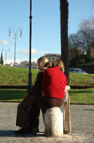 Young couple. Hugging in the middle of the street royalty free stock photo