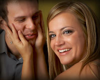 Young couple. A romantic couple portrait sepia Royalty Free Stock Images