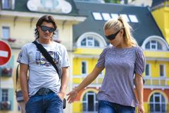 Young couple. Walking on the street Stock Photo