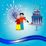 Young couple. Abstract colorful illustration with young couple standing in front of fireworks, near a huge cake. Can be used for New Year's Day or Valentine's Stock Images