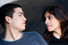 Young couple. Young women and men are on location Stock Photo