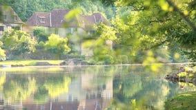 Young couple  admiring Dordogne River at Beaulieu sur Dordogne, Correze, Limousin stock video footage