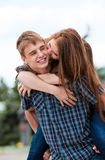 Young couple against the nature Stock Photography