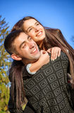 Young couple against the nature Royalty Free Stock Photography