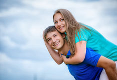 young couple against the sky Royalty Free Stock Photo