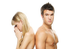 Young couple against white Royalty Free Stock Image