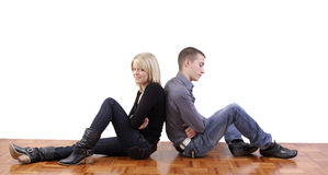 Young couple angry at each other Stock Photos
