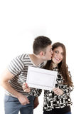 Young couple announcing isolated on white stock image