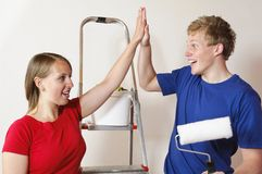 A young couple in the apartment Royalty Free Stock Photography