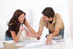Young couple at architect office Stock Photo