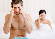 Young couple argues in bedroom Royalty Free Stock Photography