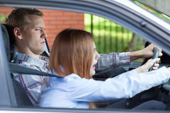 Young couple arguing while driving Royalty Free Stock Photos