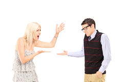 Young couple arguing isolated on white background Stock Photo