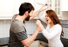 Young couple arguing in the kitchen. Royalty Free Stock Photos