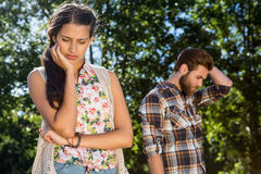 Young couple after an argument. On a summers day royalty free stock images