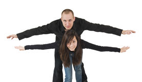 Young couple as biplane Stock Photo