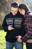 Young couple in autumn outdoor Stock Photos