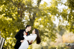 Young couple in the autumn park royalty free stock photos