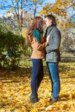 Young couple in autumn park on a sunny fall day Stock Image