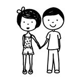 Young couple avatars drawing Royalty Free Stock Photos