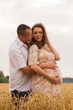 Young couple awaiting baby embrace the field Stock Images
