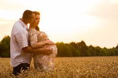 Young couple awaiting baby. A pregnant women and a men among wheat fields. Beautiful Landscape photos. A beautiful summer day. Photos for magazines, posters Stock Photography