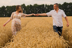 Young couple awaiting baby among the wheat field. A men and a women in tender embrace. Sincere feelings and true love. Photos for magazines, posters and Stock Images