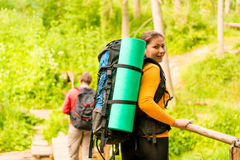 Young couple with backpacks Stock Photography