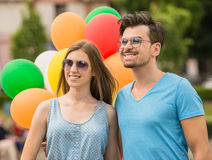 Young couple with balloons Royalty Free Stock Photography
