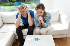 Young couple in bankrupt Royalty Free Stock Image