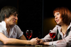 Young couple in a bar. Royalty Free Stock Photos