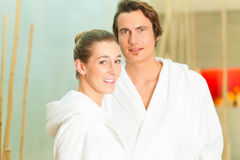 Young couple in bathrobe in Spa Royalty Free Stock Photo