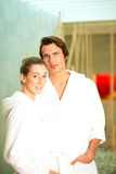 Young couple in bathrobe in Spa Stock Image